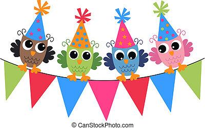 corujas, aniversário, feliz
