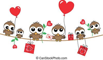 corujas, cabeçalho, amor, anúncio