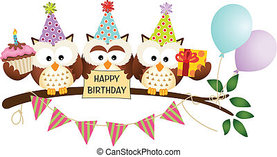 corujas, cute, aniversário, três, feliz