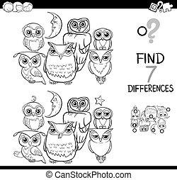 corujas, diferença, coloração, mancha, livro