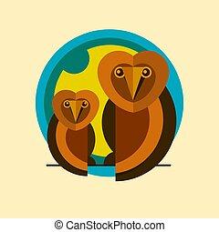corujas, dois, logotipo