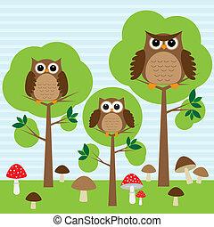 corujas, em, floresta