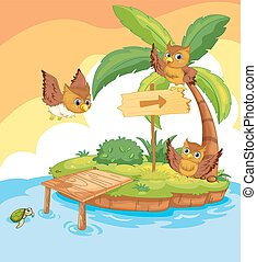 corujas, ilha, voando, ao redor, três
