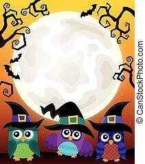 corujas, imagem, dia das bruxas, tema, 3