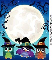 corujas, imagem, dia das bruxas, tema, 4
