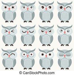 corujas, pássaros, seamless, padrão