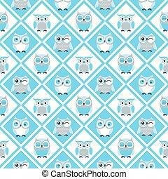 corujas, papel parede, seamless, padrão