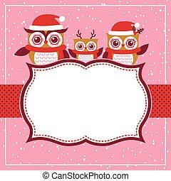 corujas, vermelho, natal, família, caricatura