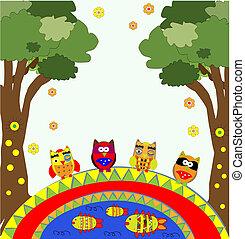 corujas, vetorial, árvore, engraçado