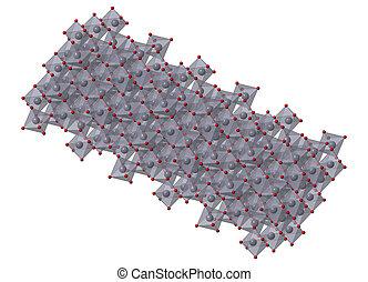 Corundum (Aluminium oxide), crystal structure. Ruby gems consist of red transparent corundum, sapphire from other color varieties of transparent corundum