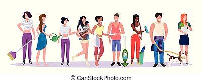 corvées, debout, concept, caractères, gens, ménage, hommes, longueur, ensemble, course, mélange, ménage, entiers, nettoyage, femme, équipe, horizontal, mâle, bannière, dessin animé, femmes