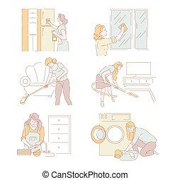 corvées, lessive, service, fonctionnement, maison, maison, dame