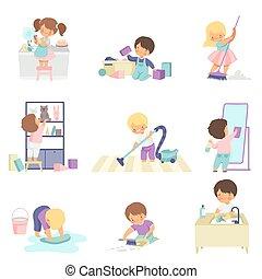 corvées, mignon, peu, gosses, lavage, ensemble, filles, plats, plancher, haut, illustration, garçons, ménage, vecteur, nettoyage, jouets, maison, adorable