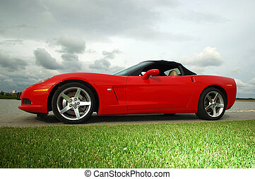 red corvette car on the road with green grass in front