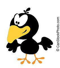 corvo, bianco, isolato, cartone animato, sorridente