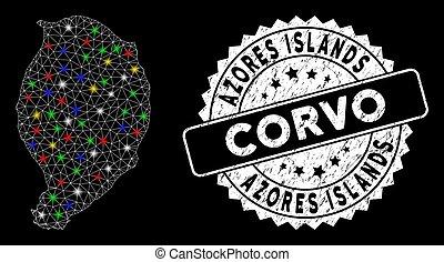 corvo, mapa, grunge, luz, puntos, sello, malla, brillante, isla, 2d