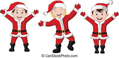 cos, feliz, crianças, santa, caricatura