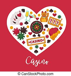 cos pr - Casino poker game and jackpot poster. Vector heart...