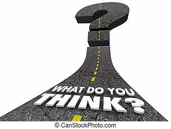 cosa, domanda, illustrazione, marchio, lei, pensare, strada, 3d