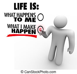 cosa, fare, vita, chooses, iniziativa, happen, lei,...