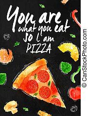cosa, l, gesso, così, lei, mangiare, pizza