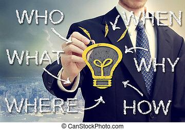cosa, luce, quando, idea, come, uomo affari, bulbo, dove, perché