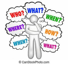cosa, quando, illustrazione, come, pensatore, domande, dove, perché, 3d