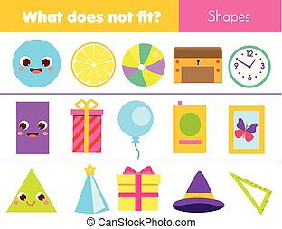 cosa, type., adattare, game., educativo, bambini primi passi, forme, bambini, cultura, logica, non, geometrico, bambini