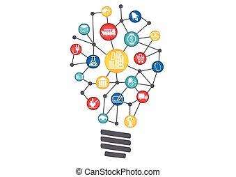cosas, concepto, empresa / negocio, technology., luz, ideas,...