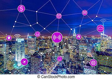 cosas, concepto, internet, ciudad