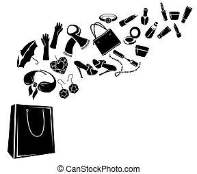 cosas, diferente, mujer, bag., blanco y negro