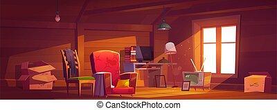 cosas, habitación, viejo, guardilla, ventana, ático
