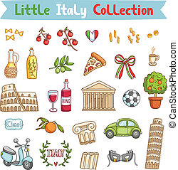 cosas, italia pequeña, colección, italiano