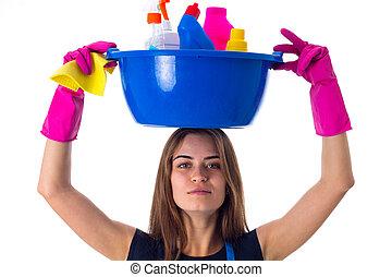 cosas, mujer, limpieza, tenencia, washbowl
