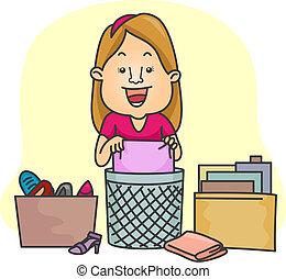 cosas, niña, organizador, ella