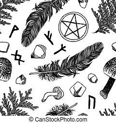 cosas, patrón, ritual, seamless, vector, negro, contorno