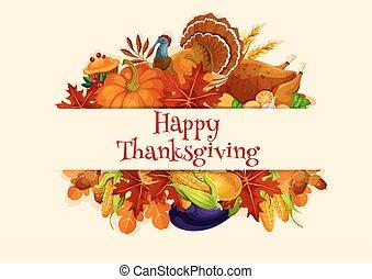 cosecha, decoración de thanksgiving, vector, bandera, día
