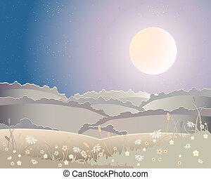 cosecha, paisaje, luna