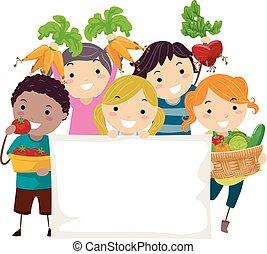 cosecha, stickman, niños, bandera, ilustración