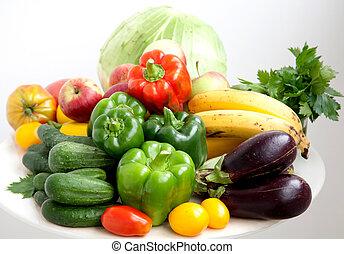 cosecha, vegetales, en, un, fondo blanco