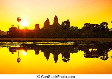 cosechar, camboya,  angkor,  siem,  wat, salida del sol