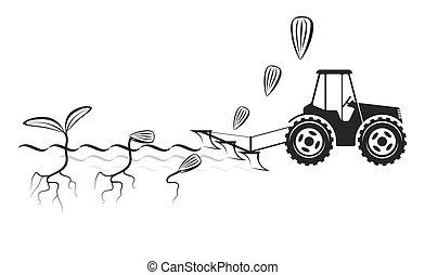 cosechas, campo, sembrar, granjero