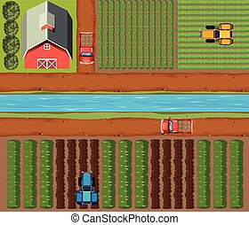 cosechas, tierras de labrantío, aéreo, escena, granero
