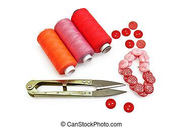 cosendo, acessórios, vermelho