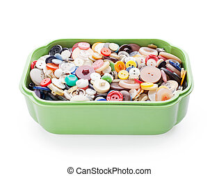 cosendo, botões, em, verde, plástico, caixão, isolado, branco, fundo