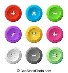 cosendo, botões, jogo, branco, experiência., vetorial