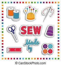 cosendo, cores, arco íris, adesivos