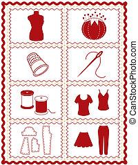 cosendo, costurando, ícones