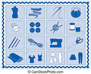 cosendo, crochet, alfaiate, tricote, ícones