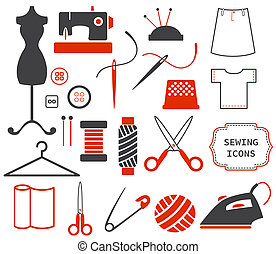 cosendo, e, needlework, ícones